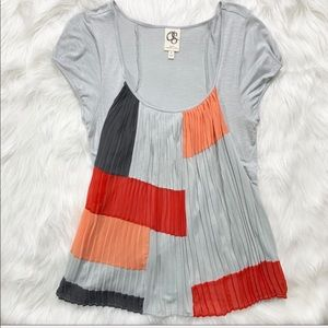 Anthropologie Colorblock Accordion Pleated Blouse